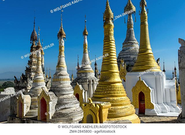 Stupas of the pagoda complex at Taungto village on the west bank of Inlay Lake in Myanmar