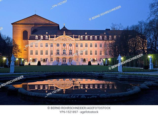 Palace of Trier and Constantin basilica at night, Trier, Germany