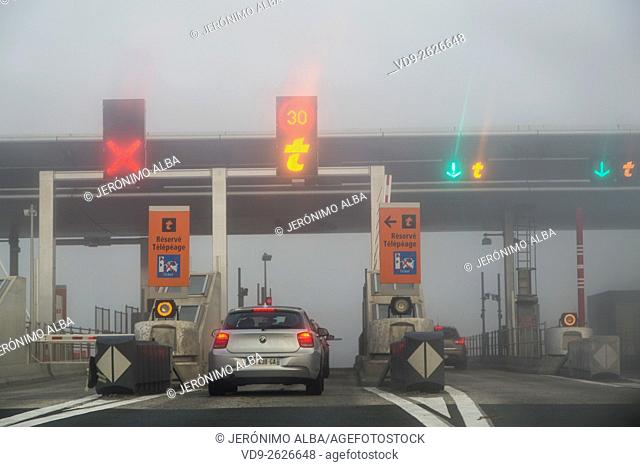 Fog Highway Toll Payment Gate, Bordeaux Gironde Aquitaine France