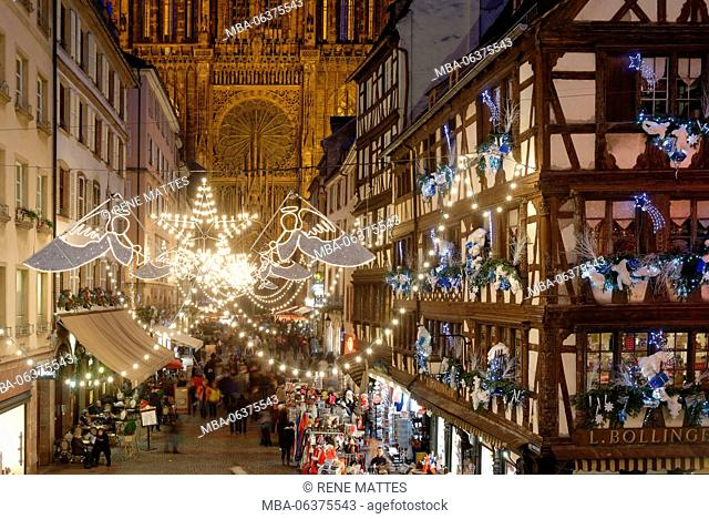France, Bas Rhin, Strasbourg, old town listed as World Heritage by UNESCO, Christmas decoration, Rue Mercière and Notre Dame Cathedral