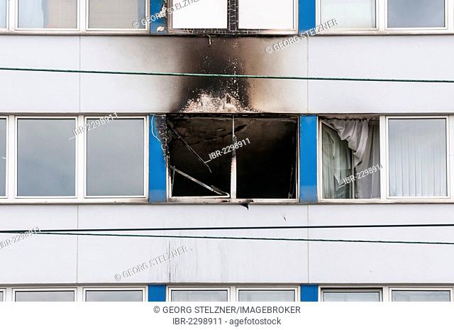 Damage after a fire in a skyscraper in Frankfurt am Main, Hesse, Germany, Europe
