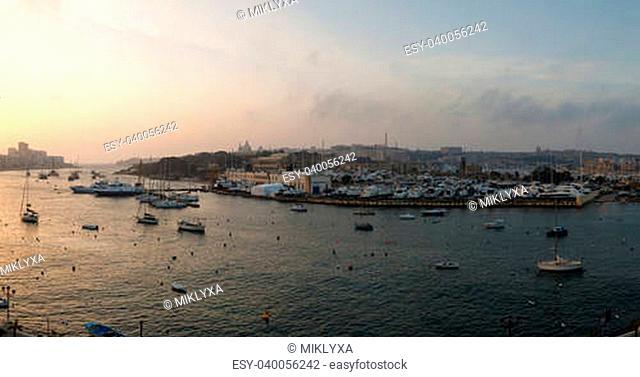 Dawn Manoel Island in Gzira's Marsamxett Harbour, Malta