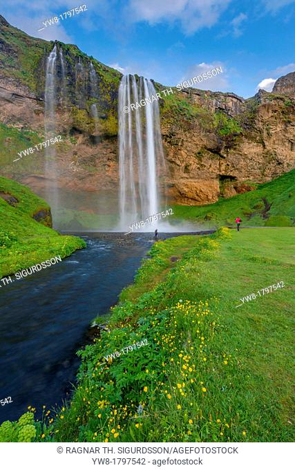 Seljalandsfoss Waterfalls, Iceland The waterfall drops approx  60 metres 200 ft over cliffs  There is a walking path behind the falls