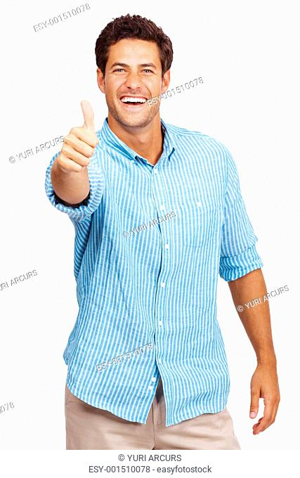 Portrait of a happy young man showing good job sign against white background
