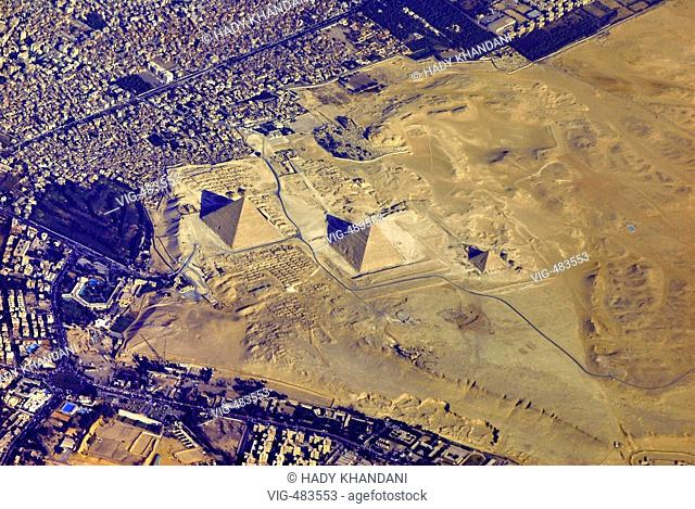 EGYPT, CAIRO, 13.08.2007 View from above: pyramides of Giza - Cairo, Egypt, 13/08/2007