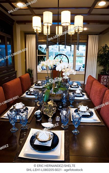 View down dining table with several place settings