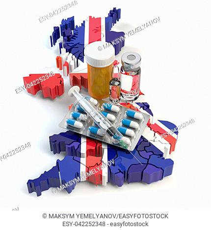Health, healthcare, medicine and pharmacy in UK Great Britain concept. Pills, vials and syringe on the map of UK isolated on white background