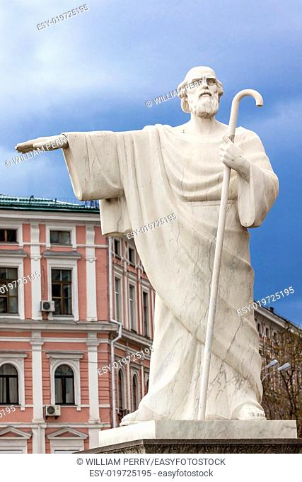 Saint Andrew Statue Mikhaylovsky Square Kiev Ukraine. Saint Andrew was Christ's disciple. He is the Patron Saint of Ukraine and Russia and he preached on the...