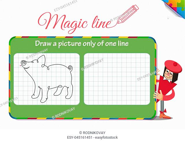 Visual Game for children. Coloring book education. Task: Draw a picture only of one line piggy