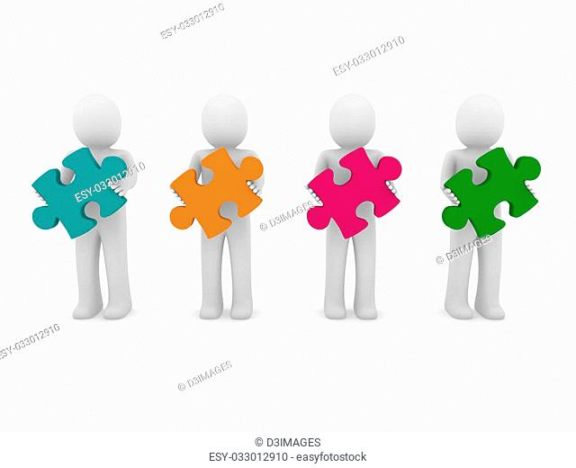 3d men puzzle teamwork green orange pink purple