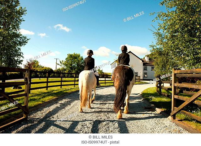 Boys horse riding together, rear view