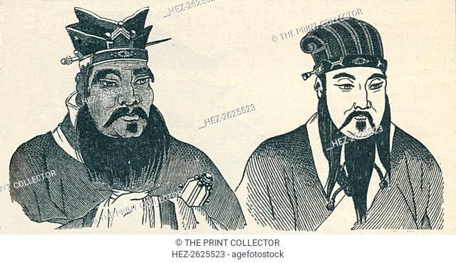 Chinese portraits of Confucius and his great follower Mencius, 1907. Artist: Unknown