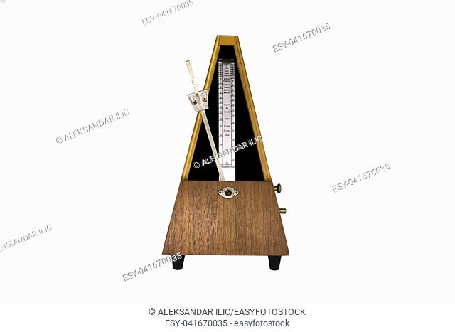 Vintage Metronome Isolated On White Background. Musical Equipment