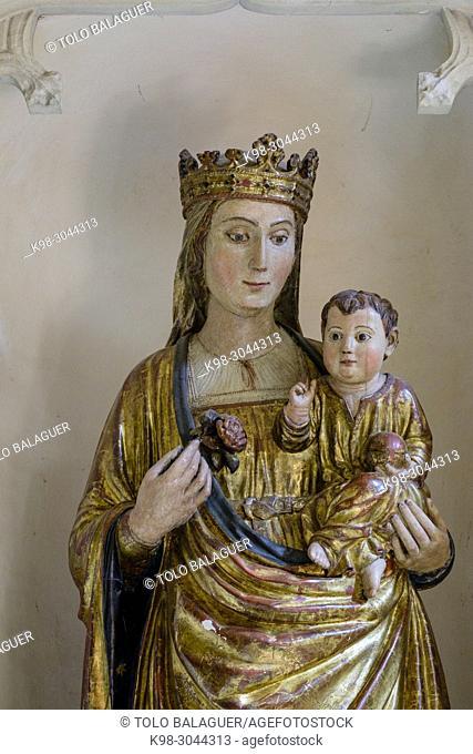 Mare de Déu del Sagrari, talla en madera, siglo XV, iglesia de sant Miquel, Felanitx, Mallorca, balearic islands, Spain