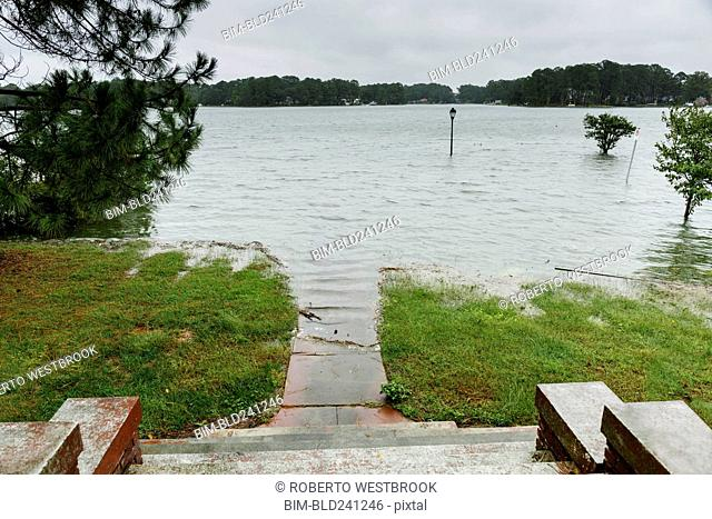 Flooding at bottom of staircase outdoors