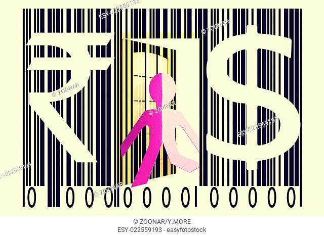 Paperman coming out of a bar code with Dollar and Rupee Signs