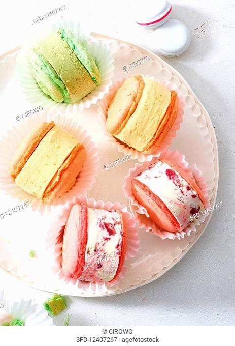 Different flavoured ice cream macarons