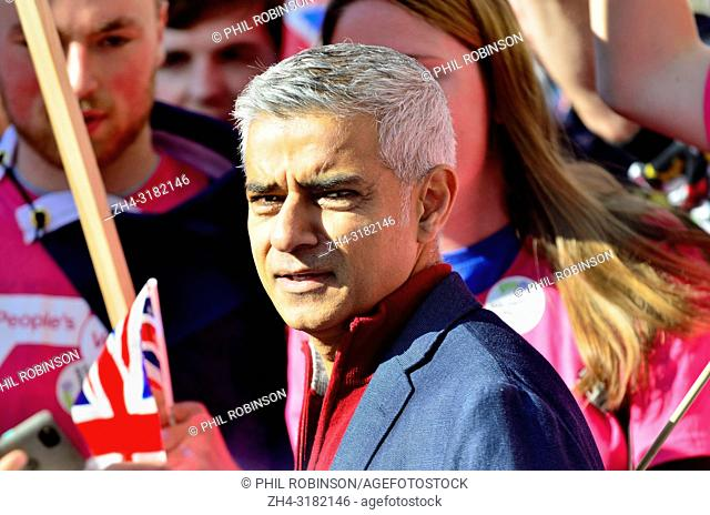 Sadiq Khan, Mayor of London, at the statrt of the People's Vote March in support of a second Brexit referendum, London, 20th October 2018