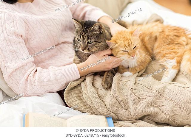 close up of owner with red and tabby cat in bed
