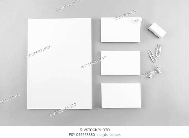 Collection of Blank catalog, magazine, book template and business card with soft shadows. Ready for your design