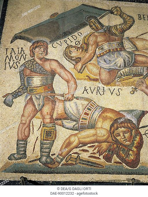 Roman civilization, 4th century A.D. Gladiators fight - Mosaic work from Terranova near Tuscolo (Italy, Latium region)  Rome