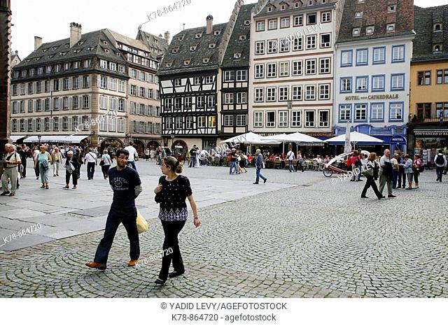 Sep 2008 - people at the Cathedral square in the old part of Strasbourg, Alsace, France