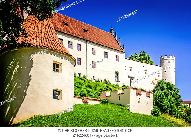 The Hohes Schloss (Castle) looks down over Fussen in Germany