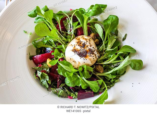 Fresh beet salad with cheese
