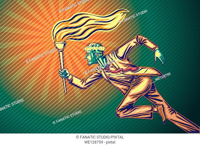Illustrative image of businessman running with flaming Torch representing vision
