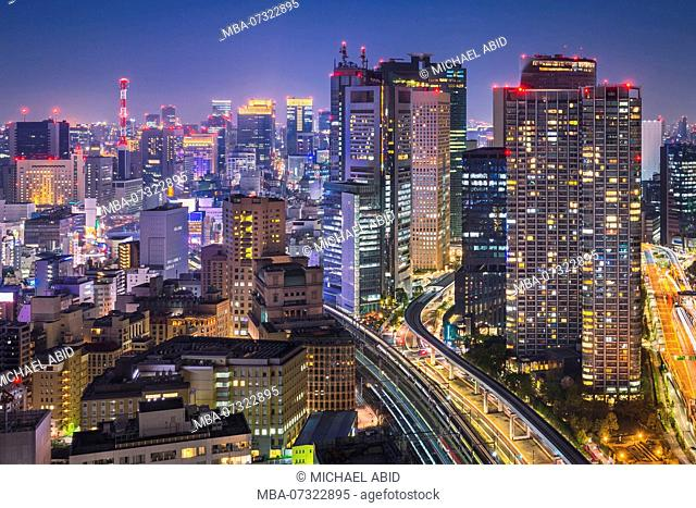Night skyline of Tokyo with the Skytree in the background, Japan