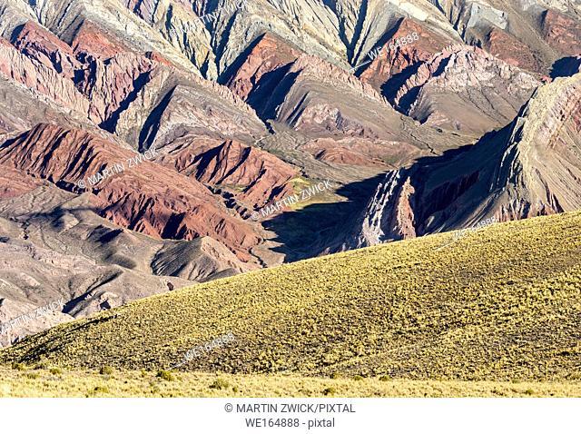 Iconic rock formation Serrania de Hornocal in the canyon Quebrada de Humahuaca. The Quebrada is listed as UNESCO world heritage site