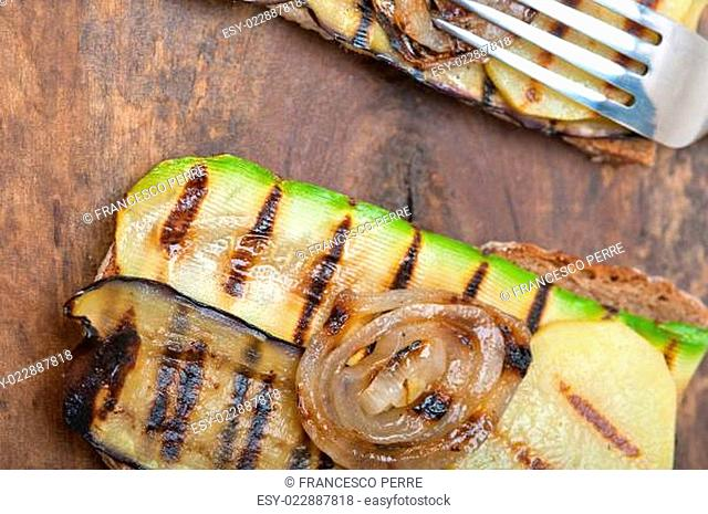 grilled vegetables on bread