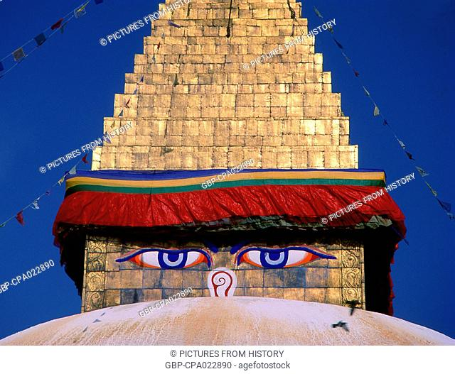 Nepal: The all seeing eyes above the great dome of Bodhnath (Boudhanath) stupa, Kathmandu