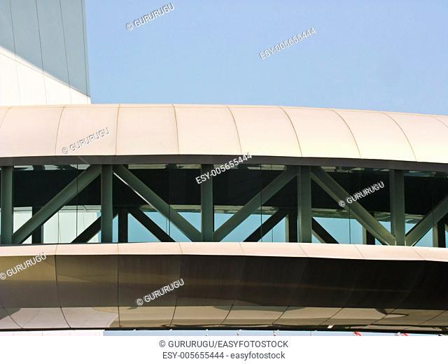 modern sky bridge structure as background