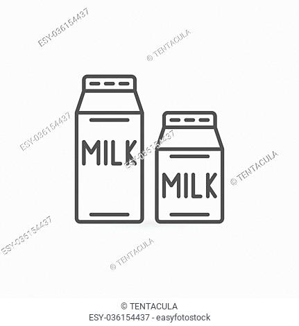 Milk thin line icon - vector simple two cartons of milk sign or logo