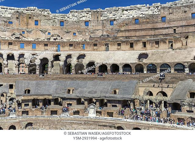 Inside the Roman Colosseum, Rome, Lazio, Italy, Europe