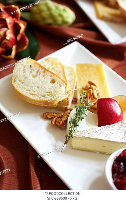 Cheese Plate with Nuts and Bread