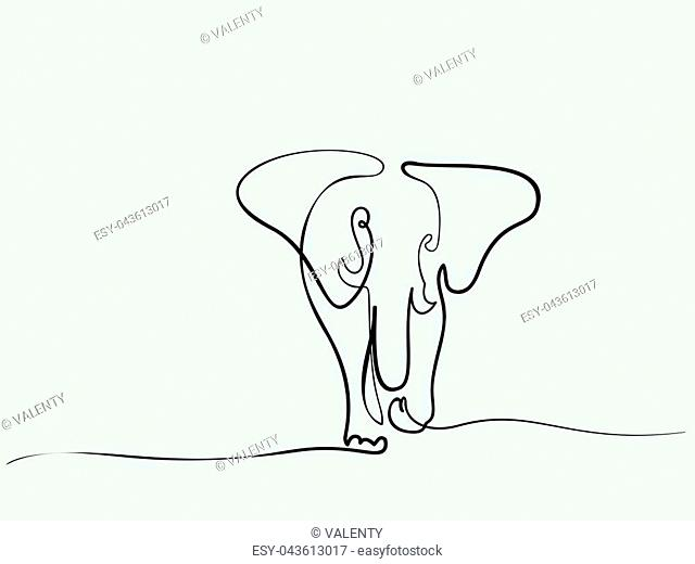 Continuous different wide line drawing. Elephant walking symbol. Logo of the elephant. Vector illustration