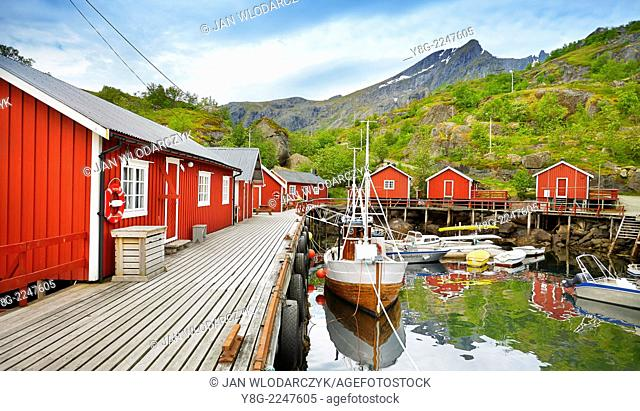 Lofoten Islands, Harbour with red fishermen's huts, nusfjord, Norway