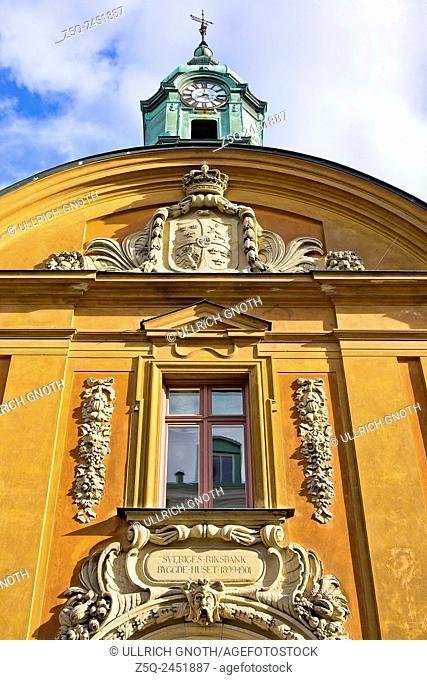 Facade above the main entrance of the former Swedish Riksbank building, Kalmar, Sweden