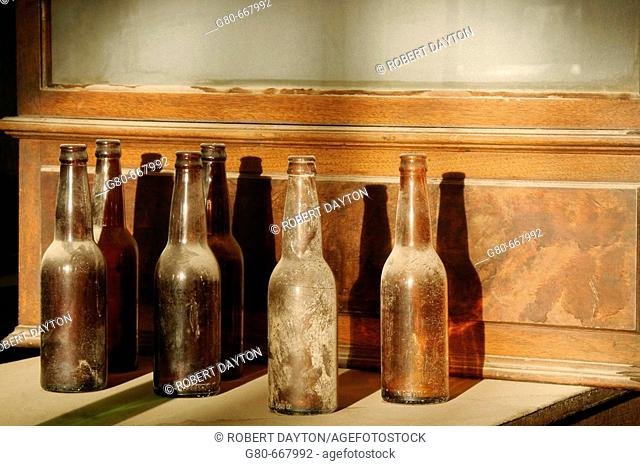 Bottles in the Bodie bar, California, USA