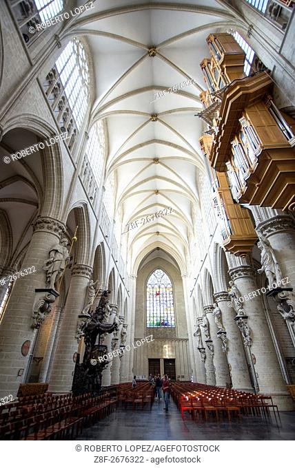 The inside of the amazing St. Michael and St. Gudula Cathedral seen from the altar stais, Brussels, Belgium