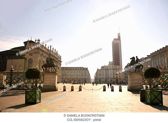 Piazza Castello, Madama Palace, oldest skyscraper, Turin, Piedmont, Italy