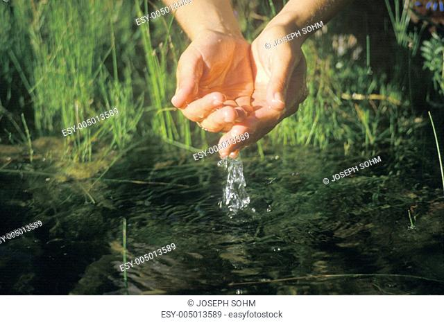 A pair of hands entering a river to get clean water