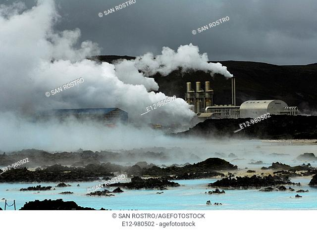 Iceland, Near Reykjavik, blue Lagoon, geothermal power station, thermal baths, spa