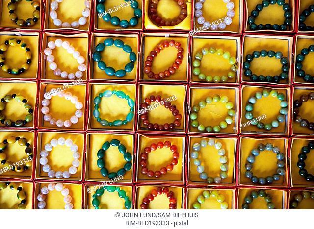 Various colorful bead bracelets