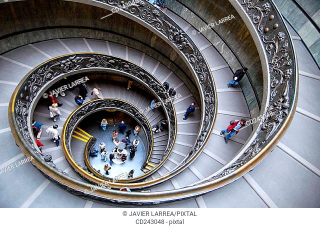 Spiral stairs by Donato Bramante at Vatican Museums. Vatican City, Rome. Italy