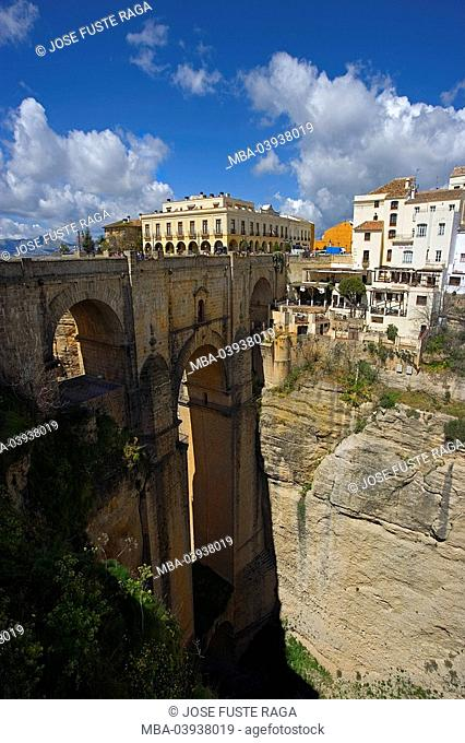 spain, Andalusia, Ronda, city view, El Tajo, bridge, destination, sight, city, canyon, rocks, rockfaces, cliffs, steep-walls, houses, residences, heaven, clouds