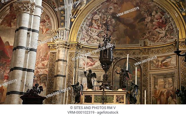 Interior, TILT up, view of the High Altar and Ceiling. Seen is the bronze Ciborium, originally created for the Hospital of Santa Maria della Scala across the...