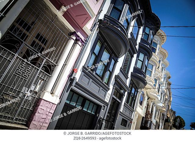 San Francisco Victorian houses near Washington Square California USA